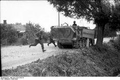 SdKfz. 251 halftrack vehicle of German 'Großdeutschland' Division, near Wilkowischken, East Prussia, Germany (now Vilkaviskis, Lithuania), Aug 1944,