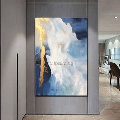 Abstract painting acrylic waterfall painting on canvas original blue and gold Painting Wall Art Pictures for living room cuadros abstractos