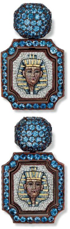 Hemmerle Nefertiti earrings. Copper, white gold, antique micro mosaic, blue sapphire. Via Jewels du Jour.