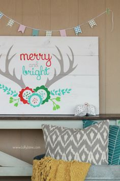 Mixed media Merry and Bright antler pallet art tutorial