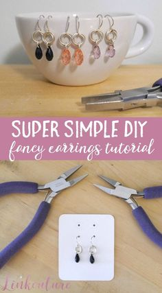 Learn how to make your own super simple DIY fancy earrings! These gorgeous earrings are easy to make and take less than ten minutes. via @Linkouture
