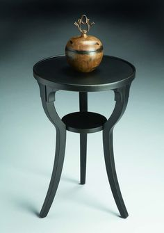 Black Licorice Round Accent Table Masterpiece   1328111. Selected Solid  Woods, Wood Products And