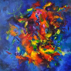 Spontaneous Combustion, acrylic with resin surface, 48x48 inches, SOLD #abstract #original art #resin surface