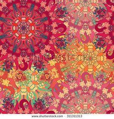 Seamless vector pattern Vintage decorative elements. Hand drawn mandala background. Islam, Arabic, Indian motif - stock vector