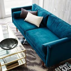 Monroe Mid-Century Sofa, Luster Velvet, Celestial Blue: You are in the right place about home design Home And Living, Blue Couches, Home Living Room, Furniture, Blue Velvet Sofa, Home, Trendy Living Rooms, Sofa Design, Mid Century Sofa