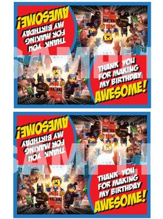The Lego Movie Treat Bag ToppersINSTANT DOWNLOAD by TrulyMarvelous, $4.00