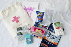 Hangover/Survival Kit for Girls Weekend! These were so much fun to make. You can put anything in them. Mine had razors, a washcloth, hand sanitizer, hand lotion, headbands and hair ties, bug repellent wipes, tissues, gum, mints, cereal bars, slim jims, deodorant wipes, little toothbrushes, bandaids. And a ton more!