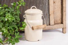 Rustic metal milk can, enamel milk can, old milk jug, rustic milk jug, milk jug with lid, dairy milk can, vintage milk jug, old milk can by VintageEuropeDesign on Etsy
