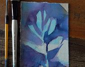 Abstract organic nature, original contemporary small watercolor painting, leaf, indigo blue, violet, purple, by Stacey Fletcher