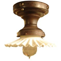 "Antique Flush Mount Light with ""Petticoat"" Milk Glass Disk Shade Copper Lighting, Flush Mount Lighting, Flush Mount Ceiling, Ceiling Fixtures, Light Fixtures, Milk Glass, Glass Shades, 1920s, Black And Brown"