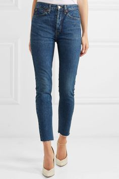 RE/DONE | Originals High-Rise Ankle Crop frayed skinny jeans | NET-A-PORTER.COM