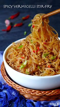 """Ants climbing a tree: spicy vermicelli stir-fry (蚂蚁上树) Don't be put off by its weird name! """"Ants climbing a tree"""" is a super tasty Sichuan dish containing vermicelli noodles, minced meat and various pungent seasonings. Asian Noodle Recipes, Asian Recipes, Ethnic Recipes, Rice Noodle Recipes, Meat Recipes, Cooking Recipes, Healthy Recipes, Vermicelli Recipes, Chinese Recipes"""