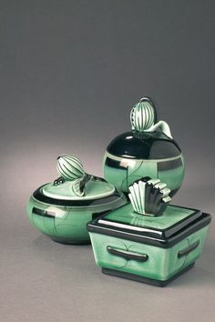 Ilse Claesson Art Deco design BonBon jars / vanity set, green and black, circa 1930s