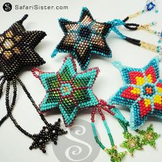 3D Peyote Stitch Beaded Star Pendant Boho Hippie by safarisister, $8.00