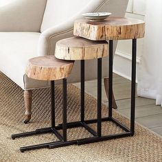 These rural themed-rustic set of corner and side tables is simple and easy DIY project. The metal base has been perfectly adorned with the rustic wooden log-top. The grain and wood finish has been kept close to natural grain as to maintain its character and natural beauty.