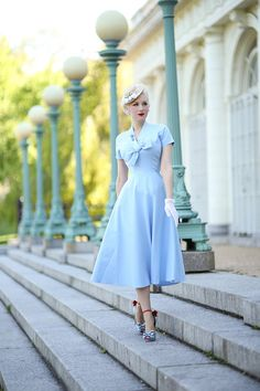 Love the Cinderella look of the light blue dress
