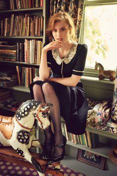 """AW 16/17 """"The Brits"""" Catalogue """"Miss Marple Dress, midnight"""" http://shop.lenahoschek.com/"""