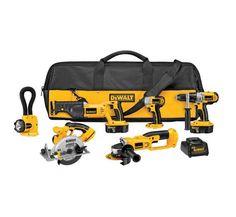 Cordless Power Kit Tool Dewalt Volt Drill Driver Saw Impact Floodlight Combo Too…