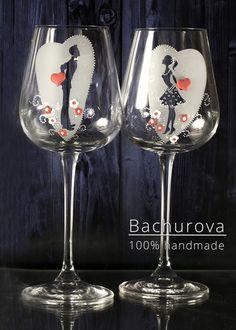 Svatební skleničky sklenice vintage svatební na svatbu svatební skleničky přípitkové Wine Glass, Tableware, Handmade, Dinnerware, Hand Made, Dishes, Craft, Place Settings, Wine Bottles