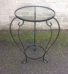 BLACK-WROUGHT-IRON-SIDE-END-TABLE-SHABBY-CHIC