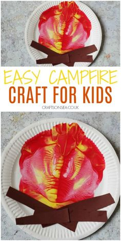 campfire craft for kids easy paint splat camping activity Campfire Crafts For Kids, Summer Crafts For Kids, Camping Crafts, Summer Fun, Toddler Crafts, Preschool Crafts, Kids Crafts, Daycare Crafts, Daycare Ideas
