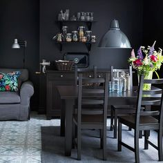 STORNÄS brown-black extendable table 329$  seats 4-6 with KAUSTBY brown-black chairs  49$