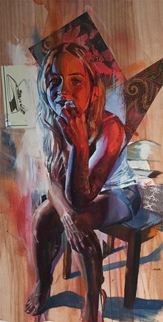 Artist: Andrew Young {contemporary surreal abstract female girl blonde young woman mixed media collage grunge painting #noveltechnique} <3