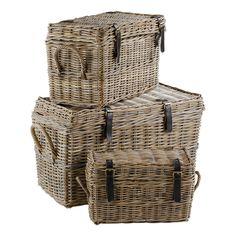 Set de 3 malles en Kubu tressé Boucles cuir KUBU Inwood port offert