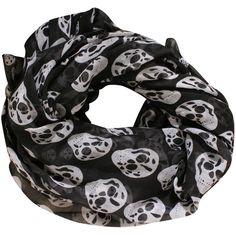 Pilot Skulls Print Scarf in Black ($9) ❤ liked on Polyvore