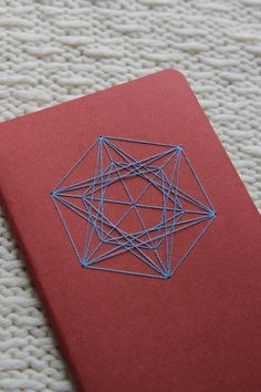 Double-Triple Triangle Tilt Notebook/Journal - Sacred Geometry : Red with Sky-Blue Thread by TheInfiniteThread on Etsy
