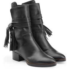 Chloé Fringe Leather Ankle Boots (20,090 THB) ❤ liked on Polyvore featuring shoes, boots, ankle booties, black, leather bootie, black fringe booties, leather ankle boots, black ankle boots and black ankle bootie