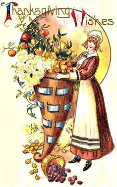 Thanksgiving Pilgrim woman with cornucopia