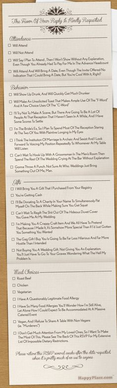 The Most Comprehensively Honest Wedding RSVP In The History Of Marriage | Happy Place