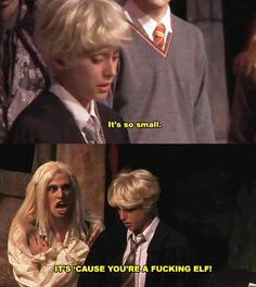 Day Did you expect Dobby to be Draco's father? No I did not, and I laughed hysterically when Lucius said this. But Narcissa never would have stooped so low as to sleep with a house elf, at least in my opinion. Harry Potter Musical, Harry Potter Universal, Harry Potter Fandom, Harry Potter World, Harry Potter Memes, Slytherin Pride, Hogwarts, Potter Puppet Pals, A Very Potter Sequel