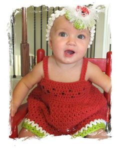 sWeeT WaTErMeLOn ... by wiLDaBoUtCoLoR | Crocheting Pattern - Looking for a crocheting pattern for your next project? Look no further than sWeeT WaTErMeLOn bABy SuNDreSS from wiLDaBoUtCoLoR! - via @Craftsy