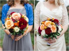 Colorful vintage autumn flowers for garden wedding in October. Fall wedding bouquet with yellow billy balls, blue thistle, red dahlias, white roses, peach roses, and pink ranunculus.