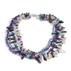 Sri Lankan White Moonstone, Peacock Biwa Pearl, Amethyst, Howlite, Madagascar Paraiba Apatite, Glass Necklace (20 in) in Silvertone and Stainless Steel TGW 274.940 cts.
