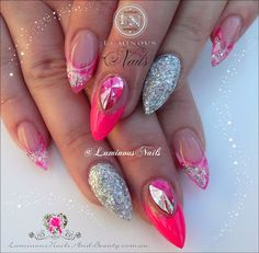 Hot Pink and Silver Acrylic Nails