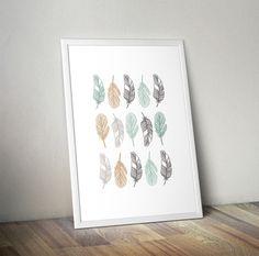 ♥ Cette belle affiche minimaliste représentant des plumes de différentes couleurs plaira aux amoureux de la nature et du style scandinave. Elle trouvera sa place dans vos salon - 17045743