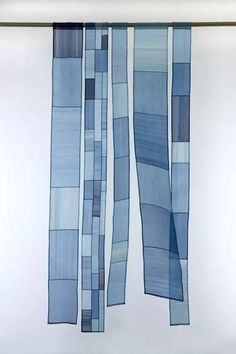 """Something like this for the south living room window. Korean patchwork panels, window inspiration: """"From Seam to Seam: Pojagi Fabric Art"""" Muckenthaler Cultural Center, exhibit Textiles, Fabric Art, Shibori, Textile Art, Indigo, Windows, Quilts, Decoration, Home Decor"""
