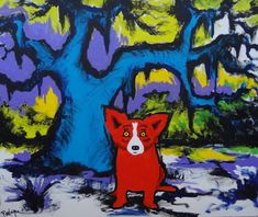 pictures of george rodrigue paintings with trees | ... 2009 by Blue Dog George Rodrigue, Original Painting, Acrylic on Canvas