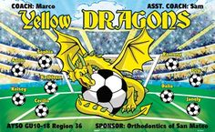 Yellow Dragons B53843  digitally printed vinyl soccer sports team banner. Made in the USA and shipped fast by BannersUSA.  You can easily create a similar banner using our Live Designer where you can manipulate ALL of the elements of ANY template.  You can change colors, add/change/remove text and graphics and resize the elements of your design, making it completely your own creation.