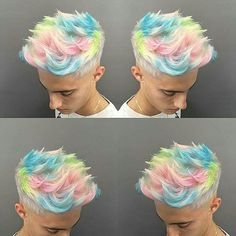 Dios mío, se ve tan genial - Inspiration hair Design - # Mens Hair Colour, Hair Color, Hair And Beard Styles, Curly Hair Styles, Pelo Multicolor, Cotton Candy Hair, Hair Reference, Haircut And Color, Funky Hairstyles
