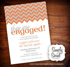 Chevron Engagement Party Invitation Grey and Orange Fall Autumn Color.