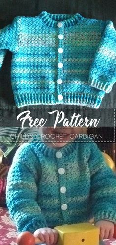 Child's crochet cardigan – Free Pattern – Free Crochet – baby Crochet Toddler Sweater, Crochet Baby Cardigan Free Pattern, Crochet Baby Jacket, Crochet Baby Sweaters, Baby Sweater Patterns, Crochet Baby Clothes, Crochet For Boys, Newborn Crochet, Shrug Pattern
