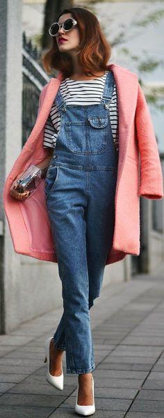 #Pink #Coat jean overalls perfect look