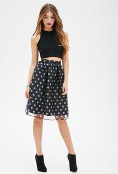 Sheer Polka Dot Skirt   FOREVER21 - 2000099973