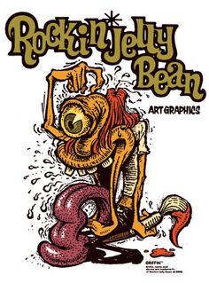 Rockin' Jelly Bean [part Rockabilly Art, Pin Up Art, Cool Cartoons, Jelly Beans, Asian Art, Cartoon Art, Graphic Prints, Graphic Illustration, Illustrations Posters