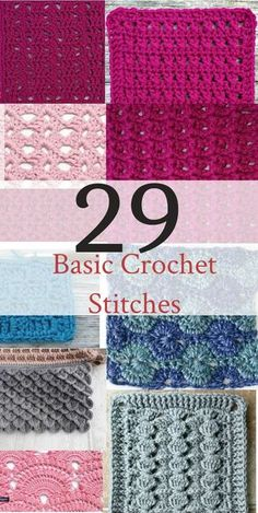 Basic Crochet Stitches If you want to learn to crochet, use this handy list of basic crochet stitches for beginner crochet.If you want to learn to crochet, use this handy list of basic crochet stitches for beginner crochet. Different Crochet Stitches, Easy Crochet Stitches, Crochet Stitches For Beginners, Crochet Basics, Crochet Afghans, Dishcloth Crochet, Crochet Projects For Beginners, Crochet Blankets, Crochet Simple