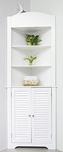 merax luxurious double door floor bathroom storage cabinet tall corner etagere space saver